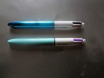 Neuf Lot 2 Stylo Bic 4 Couleurs Design 4 En 1 Ergonomique Retractable  Lot De 2