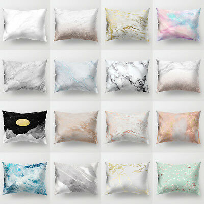 FT- Marble Printed Home Office Sofa Bed Decor Cushion Cover Pillow Case Seraphic