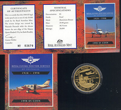 Australia - 1998 Royal Flying Doctor Service Proof $5.00 Coin In Original Box