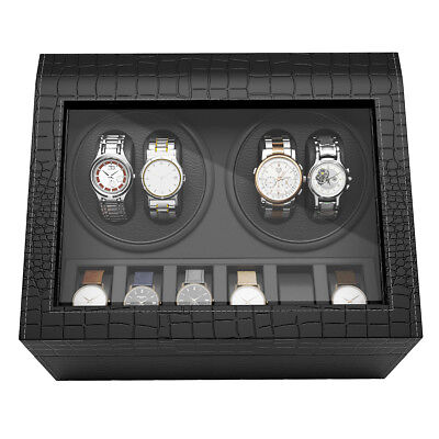 4+6 Grids Watch Winder Display Box Watches Automatic Rotation Storage Organizer