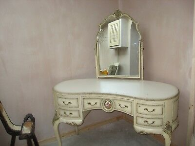kidney shaped antique dressing table cream /gold /mirror plus removable glass