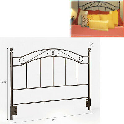 METAL HEADBOARD BED Full Queen Size Bedroom Frame Traditional Bronze Scrolled