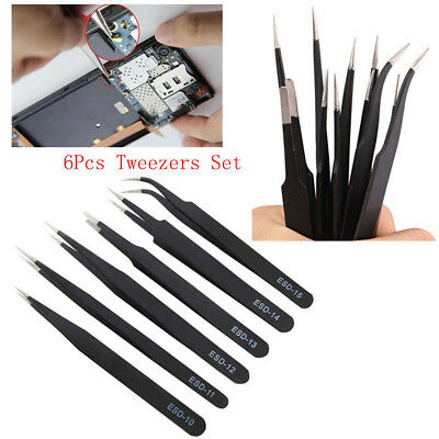 6 x Professional Coated Precision Tweezers Set Stainless Steel Non Magnetic UK