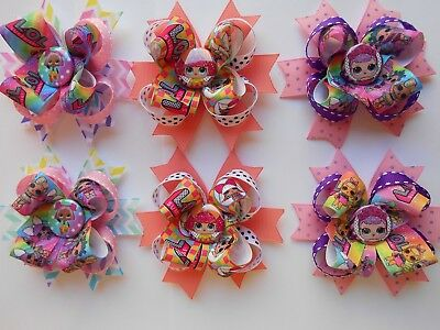 """LOL Surprise Dolls hairbows hair bows girls bows 2 ct bows 3 1/2"""" to 4"""" wide"""