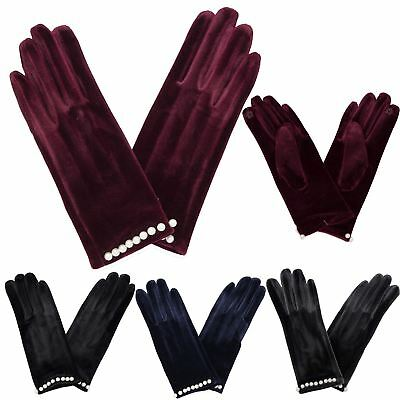 New Women's Velvet Style Beaded Cuff Soft Winter Warm One Size Cosy Gloves