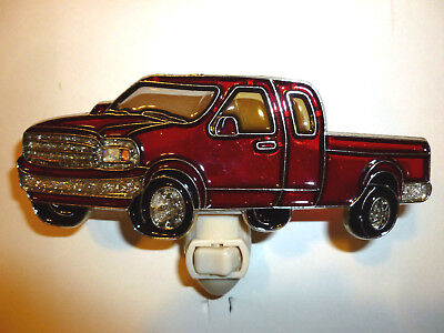 "Stain Glass Style - ""RED FORD  PICK-TRUCK""    NIGHT LIGHT"