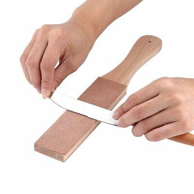 Wooden Handle Double Sided Leather Craft Polish Sharpening Strop Sharpener Craft