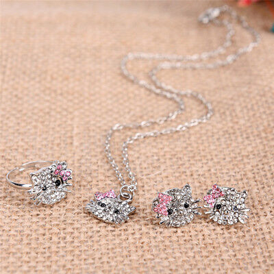 Crystal Cat Stud Necklace / Earrings / Ring Bowknot  For New Fashion Girls P&HK