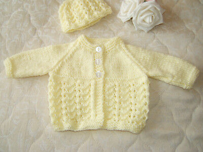 Beautiful hand knitted baby cardigan 0 – 3 months in lemon  with matching hat