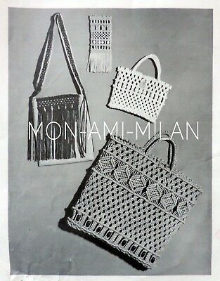 Macrame Pattern Photocopy To Make Shopping Bag, Toilet Bag, Spectacle Case