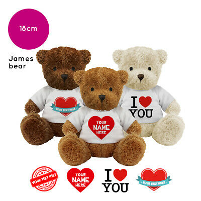 Personalised Name James Teddy Bear Valentines Day Gifts for Him Her Gift Ideas