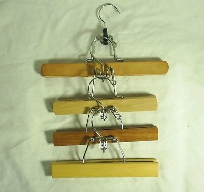 Hangers Wood Pants Skirt Clamp Mixed Colors And Sizes Lot of 4