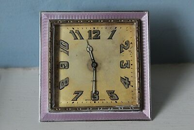 Lovely Art Deco Swiss 8 Day Pink Guilloche Enamel Travel Clock Fully Working