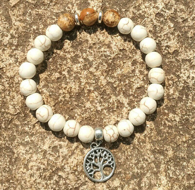 8mm White Turquoise Picture stone Bracelet Tibet silver Stretchy men Meditation