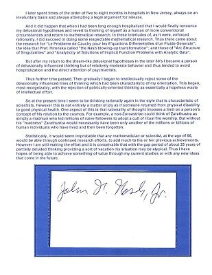"""John Forbes Nash ~ """"A Beautiful Mind"""" ~ 4 Page Autobiography ~ Signed Card ~ A+"""