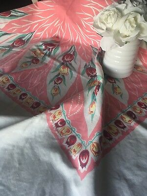 Vintage Mid Century Pink Floral Printed Cotton Tablecloth