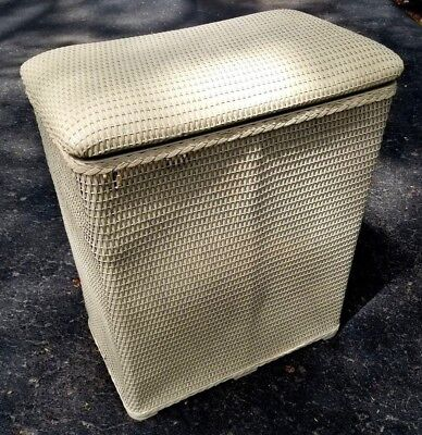"Vintage BURLINGTON White Wicker Hamper with Flip Lid 24"" Tall x 20"" x 12"" #2"