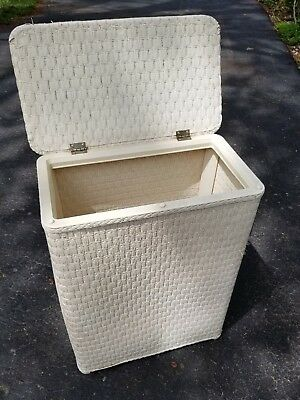 "Vintage White Wicker Hamper with Flip Lid 26"" Tall x 20"" x 12"""