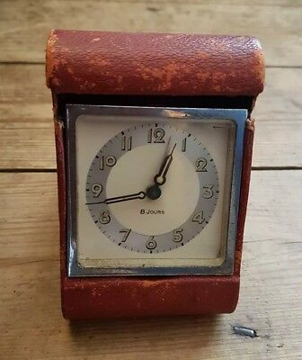 1920's Lancel Paris Travel Clock. Red leather Case. French Art Deco. Working.