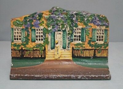Antique Cottage W/ Woman On Steps Cast Iron Doorstop Eastern Specialty Mfg. Co.