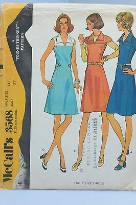 Vintage 1973 McCall's sewing pattern, misses dress  size 14 1/2