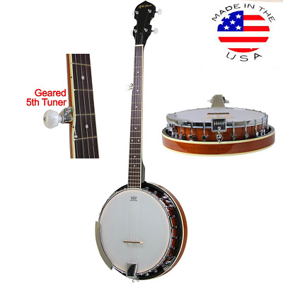 5-String Banjo 24 Bracket with Closed Solid Back and Geared 5th Tuner By Jameson