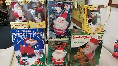 vintage musical lighted animated Christmas toy lot with boxes Santa Reindeer