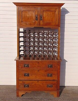 Antique French Solid Wood Sideboard With Wine Rack