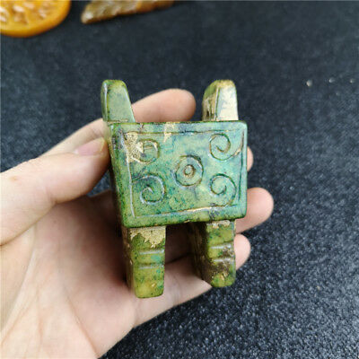Chinese 3D Carve Tripod Antique Old Green Jade Figurines & Statues D108