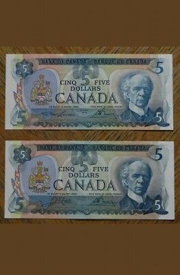 1979 Canada 5 $ Lot Of 2 Notes