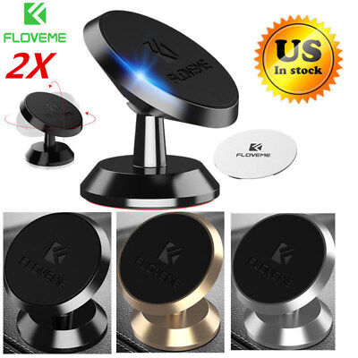 2X 360° Magnetic Car Mount Holder Stand Dashboard For Cell Phone iPhone Samsung