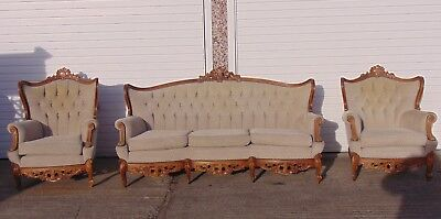 Antique French 3 Seater Sofa + 2 Chairs