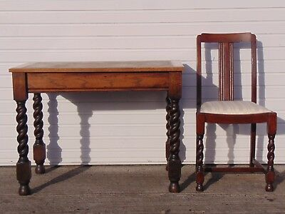 Antique French Dressing Table / Desk And Chair