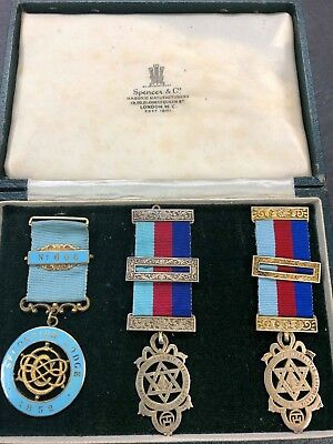 masonic sterling silver medals boxed