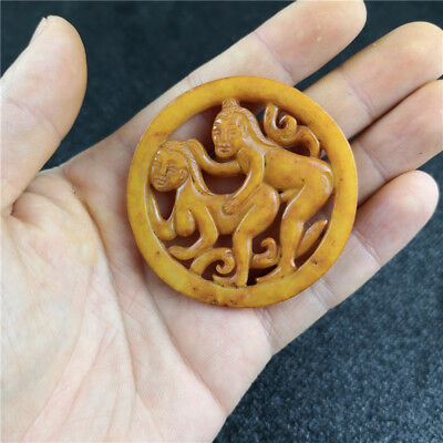Chinese Old Jade Antique Double-sided Hollow Carve Sex-culture Pendant A104