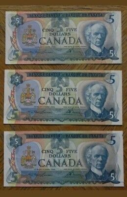 1979 Canada 5 $ Lot Of 3 Notes