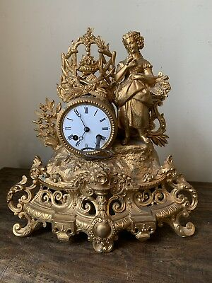 19th Century Antique French Gilt Metal Figural Mantle Clock