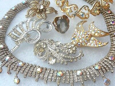 Vintage-Estate Rhinestone Jewelry Lot For Repair-Brooches-Necklace-Ring-Bracelet