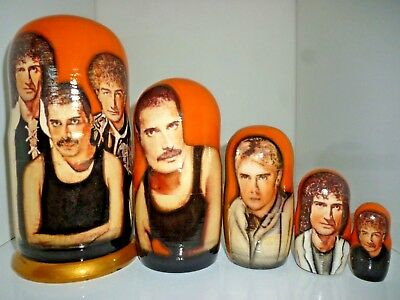 Queen Band  Russian Babushka Nesting Doll Set Of 5. New. 17 Cm Tall