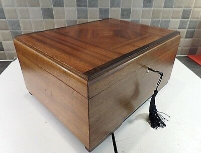 Art Deco Mahogany Box With Veneered Lid- Original Lined Interior- Lock & Key