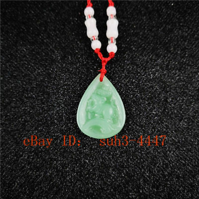 The Chinese Zodiac Natural Green Jade Pendant Necklace Jewelry Lucky Amulet A210