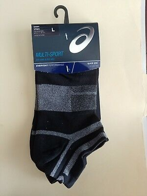ASICS Quick Lyte Cushion Single Tab Running Socks (3 Pack) - Blk/Gry - Size L
