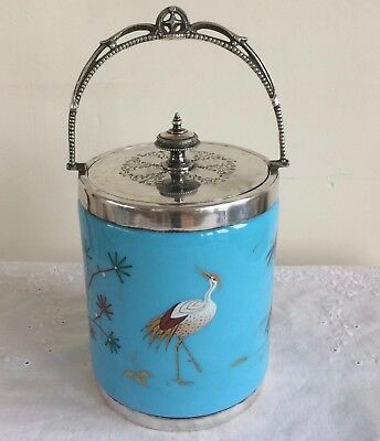 Beautiful Antique Blue Glass Hand Painted Biscuit Barrel