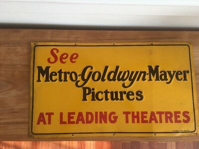 """Rare - """"See Metro-Goldwyn-Mayer Pictures"""" Painted Pressed Metal Advertising Sign"""