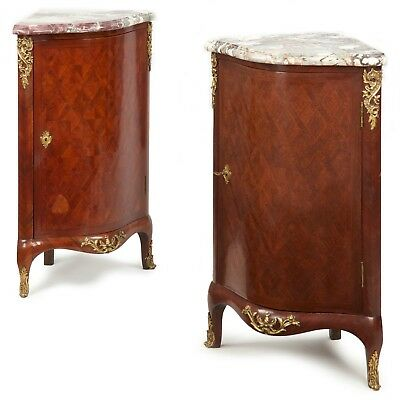 Pair of French Louis XV Style Antique Corner Cabinet Consoles, c. 19th Century