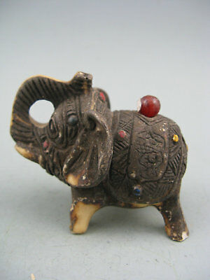 Antique Old Chinese Hand-carved Elephant Netsuke Statue