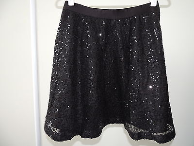 Girls Size XXL (14-16) Plus  * GAP KIDS *  Sparkly Black Lined Sequin Skirt NWT