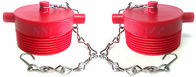 "2 Pack Fire Hydrant Adapter Plug with Chain 2-1/2"" Male NST Red Polycarbonate"
