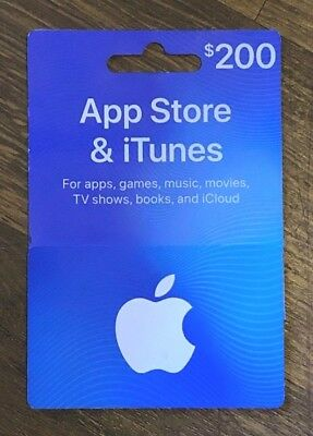 Apple $200 App Store and iTunes Gift Card (apps, games, music, movies, iCloud)