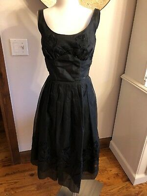 1940s 50s Vintage Black Organza Embroidered Party Dress Fit Flare Cocktail 4 S 6
